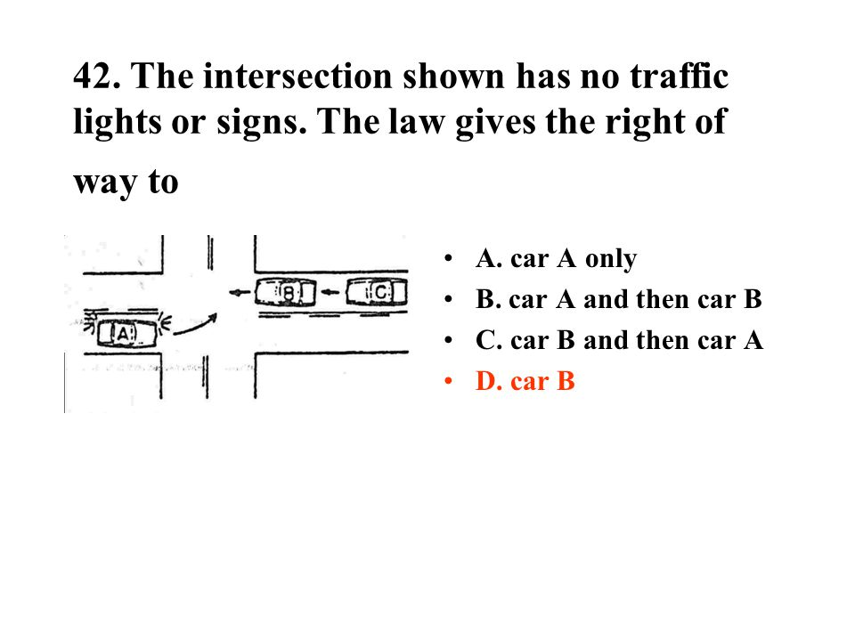 42. The intersection shown has no traffic lights or signs