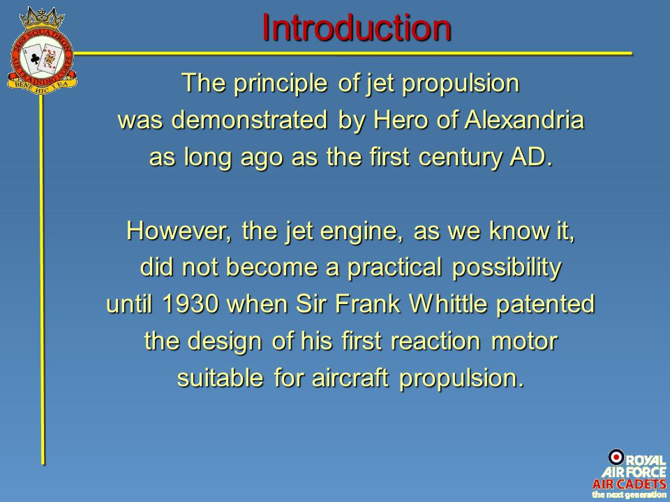 Introduction The principle of jet propulsion