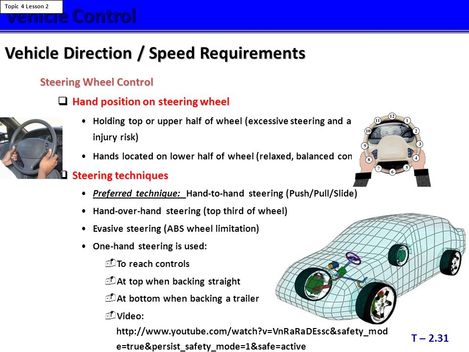 Vehicle Control Vehicle Direction / Speed Requirements