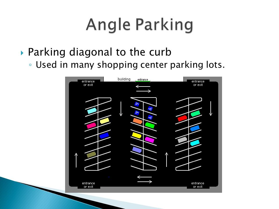 Angle Parking Parking diagonal to the curb