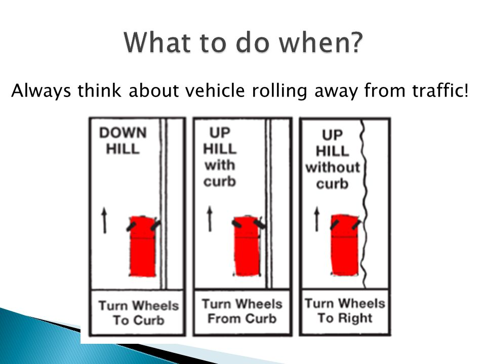 What to do when Always think about vehicle rolling away from traffic!