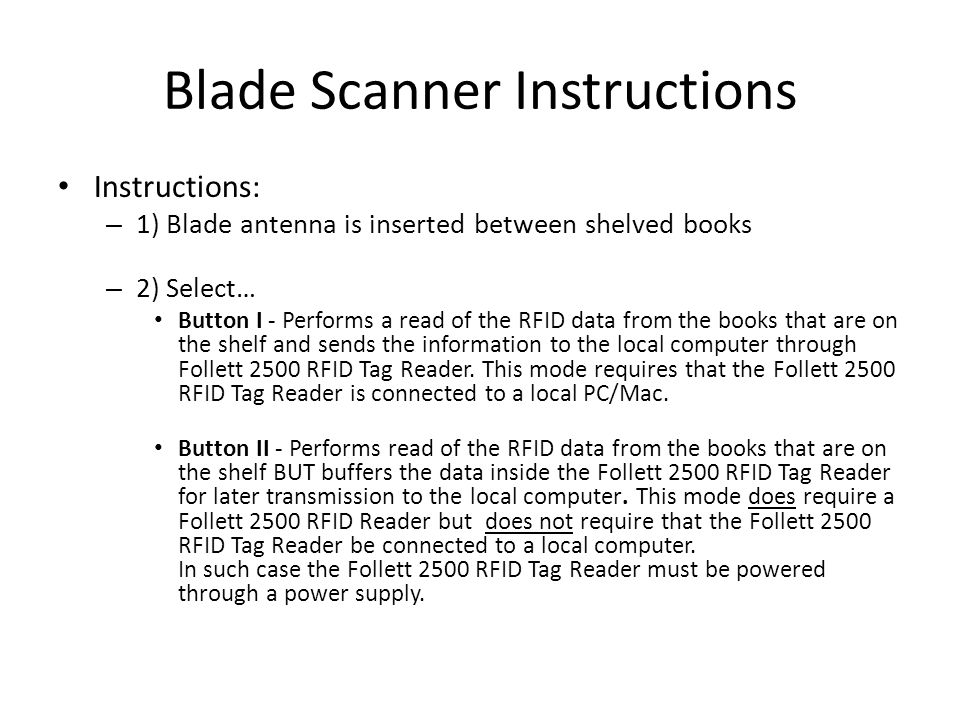 Blade Scanner Instructions