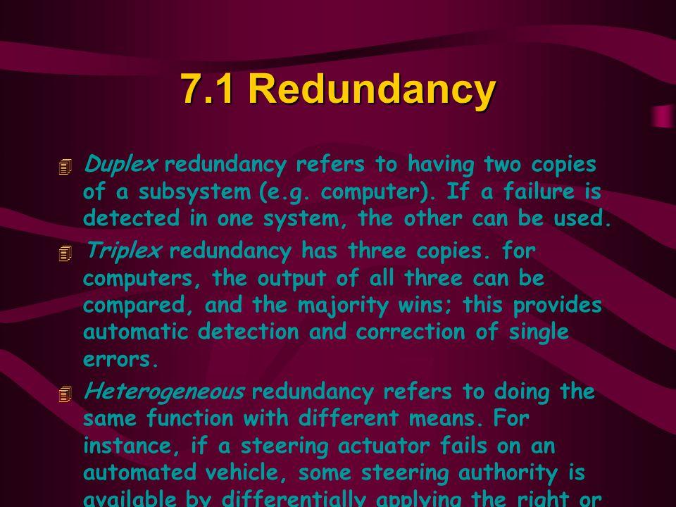 7.1 Redundancy