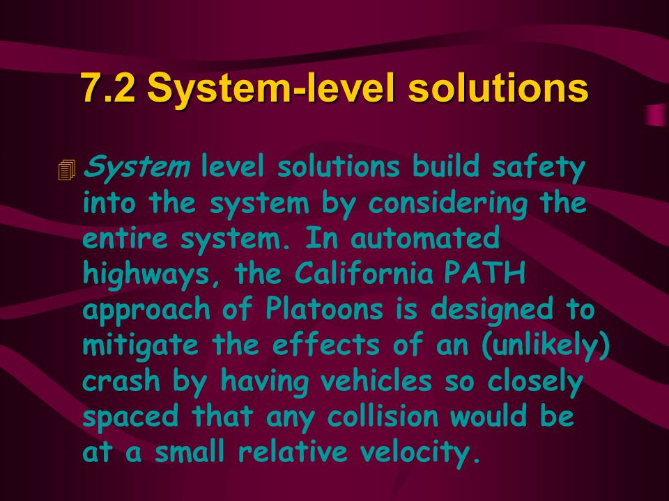 7.2 System-level solutions