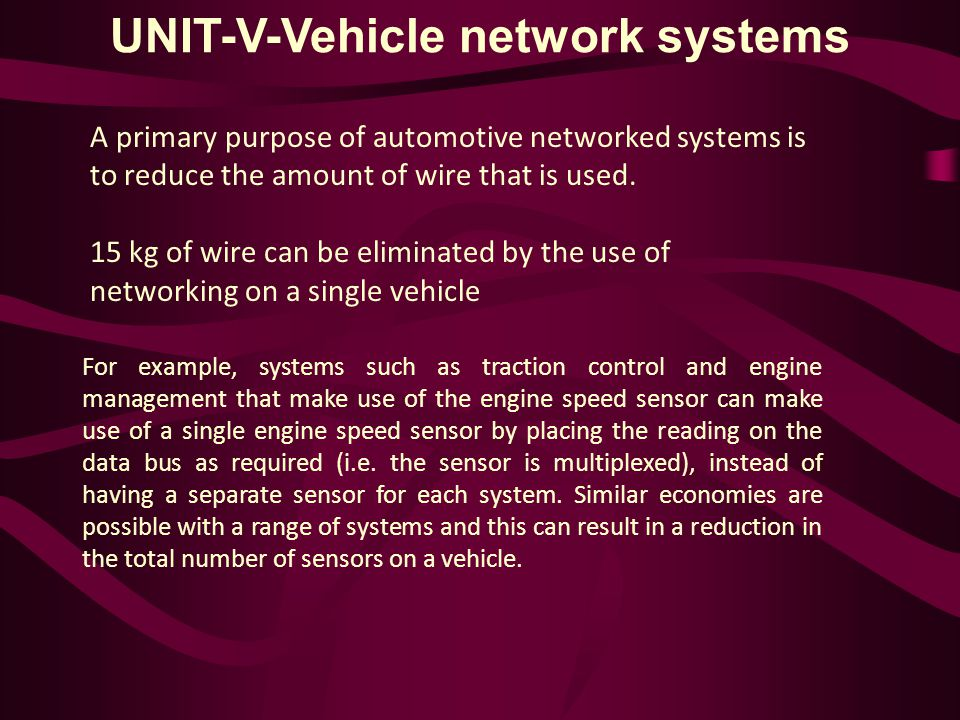 UNIT-V-Vehicle network systems