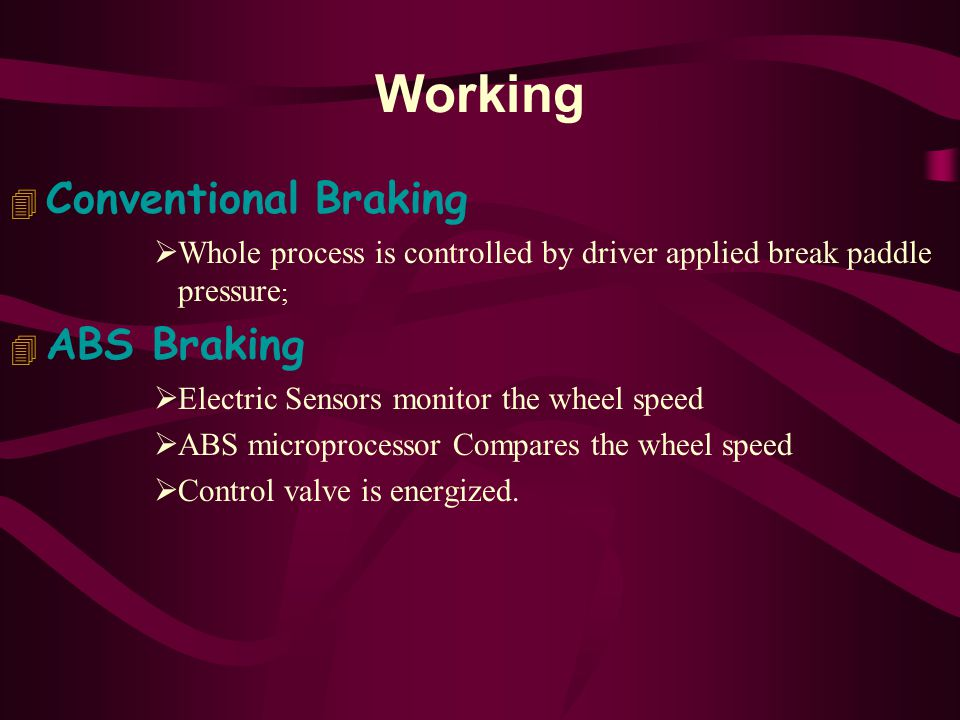 Working Conventional Braking ABS Braking