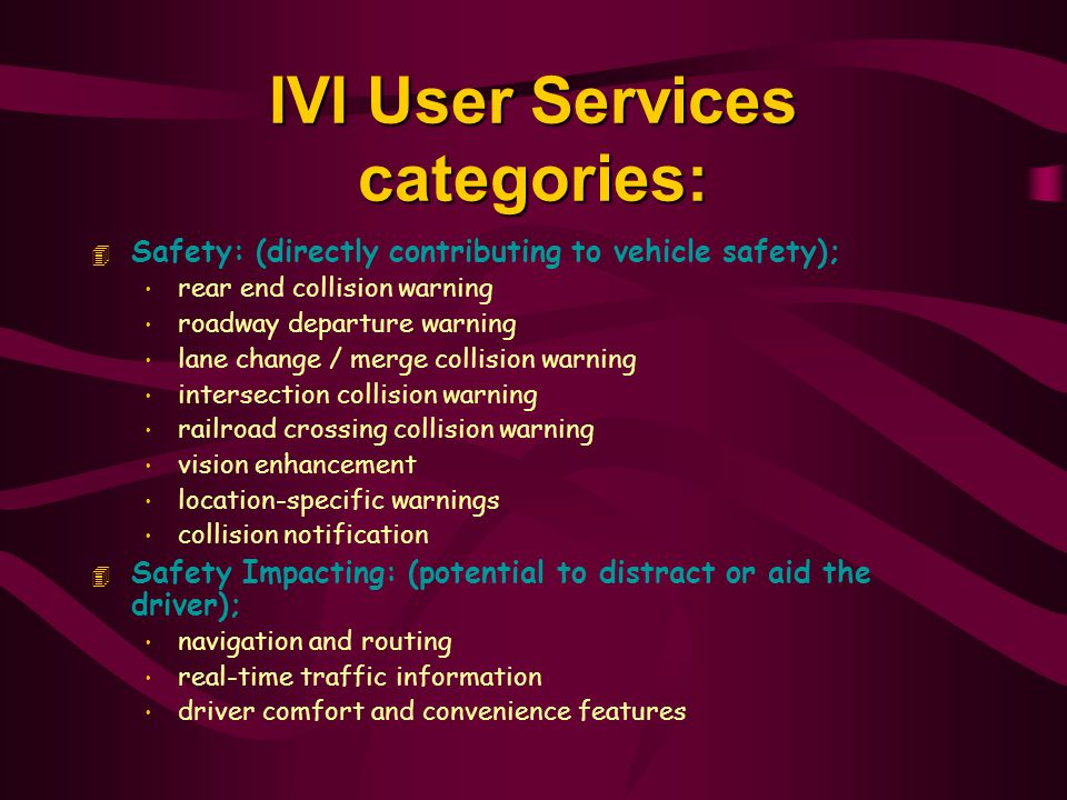 IVI User Services categories: