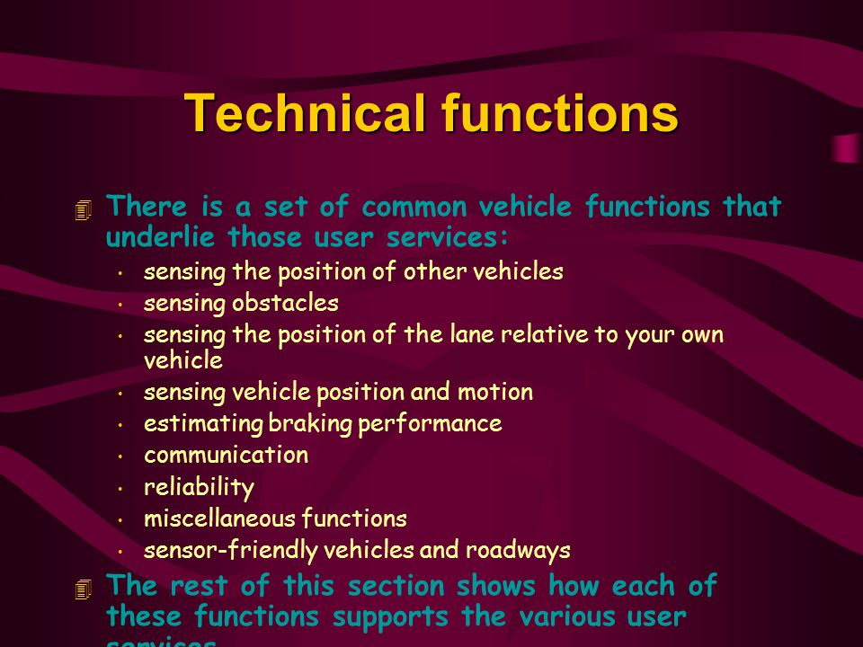 Technical functions There is a set of common vehicle functions that underlie those user services: sensing the position of other vehicles.
