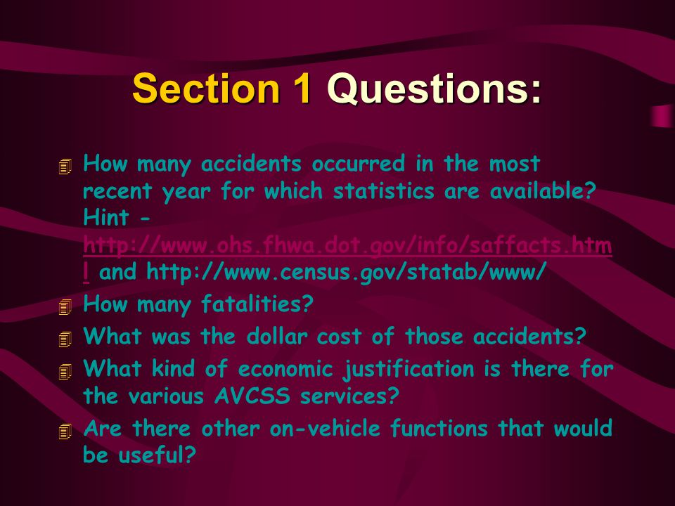 Section 1 Questions: