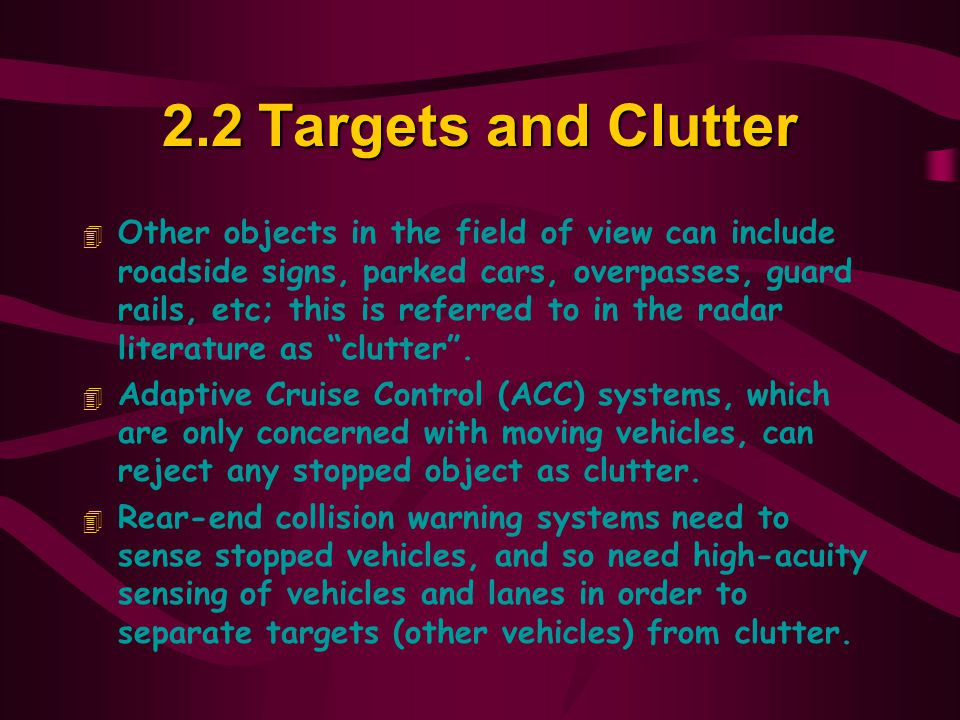 2.2 Targets and Clutter