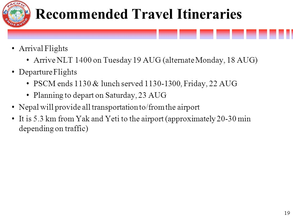 Recommended Travel Itineraries