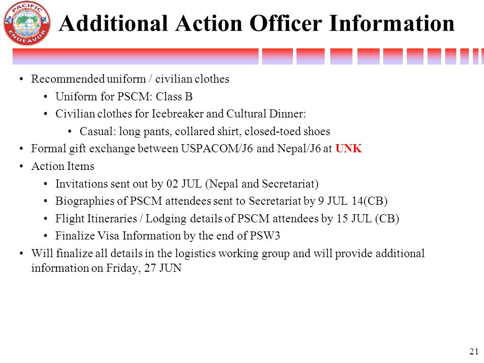 Additional Action Officer Information