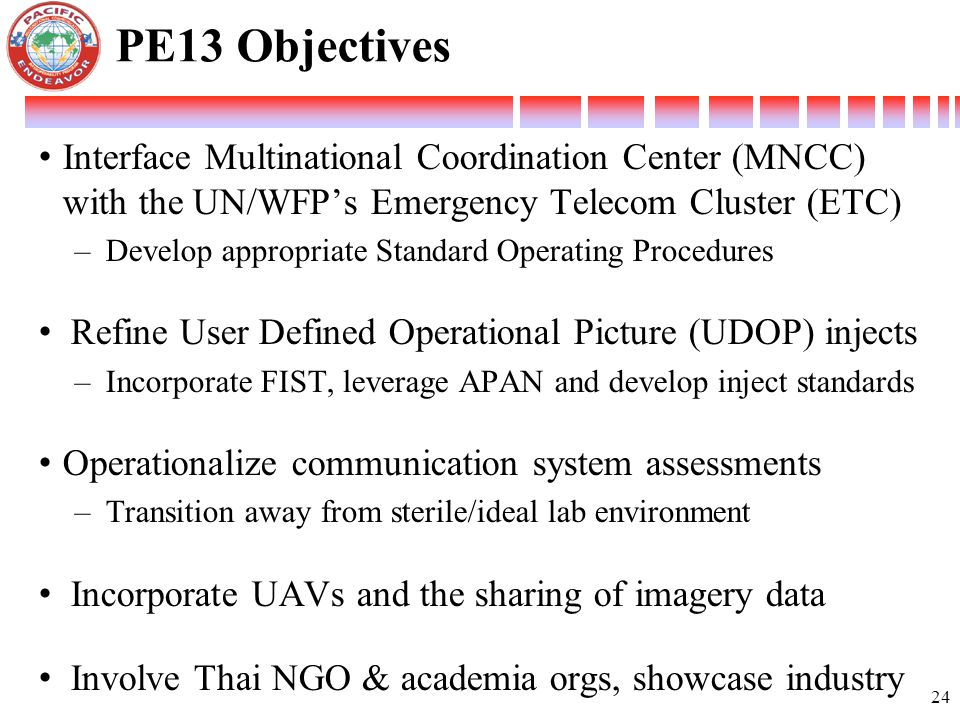 PE13 Objectives Interface Multinational Coordination Center (MNCC) with the UN/WFP's Emergency Telecom Cluster (ETC)