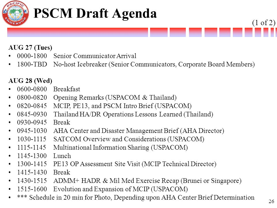 PSCM Draft Agenda (1 of 2) AUG 27 (Tues)