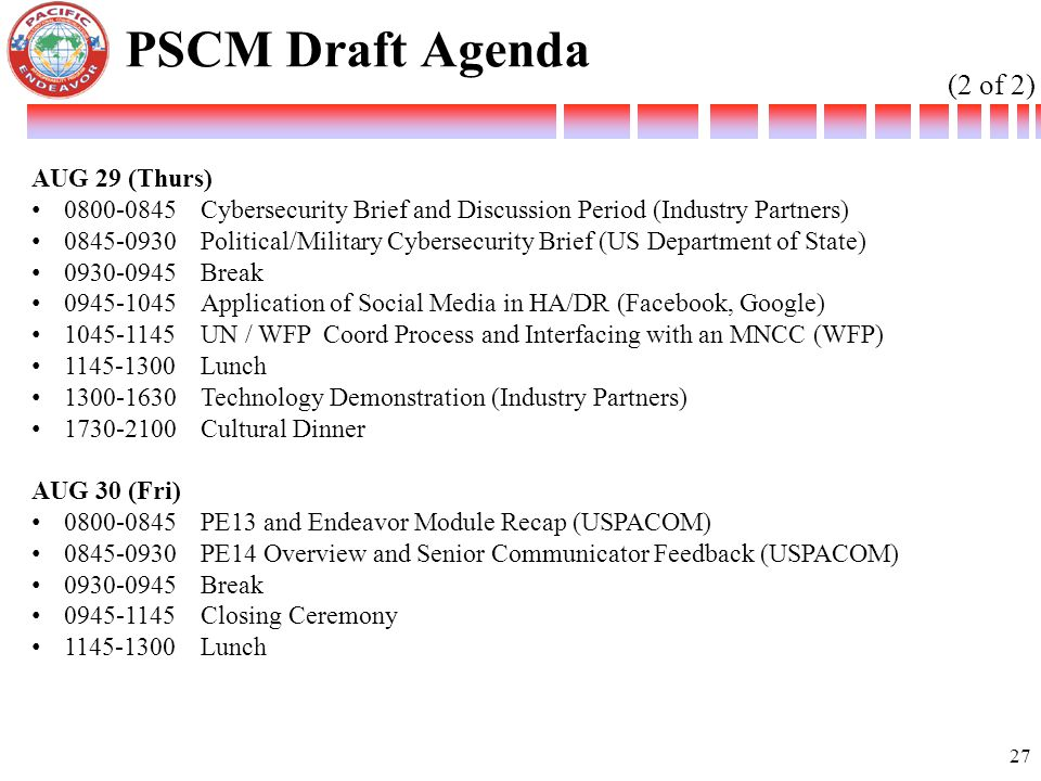PSCM Draft Agenda (2 of 2) AUG 29 (Thurs)