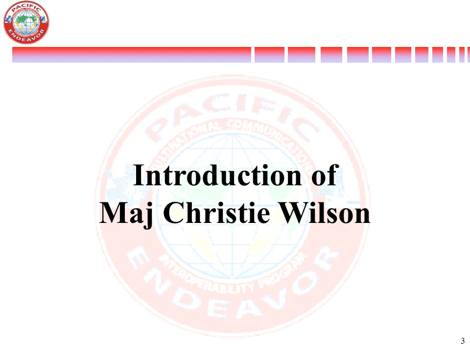 Introduction of Maj Christie Wilson