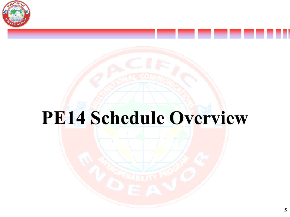 PE14 Schedule Overview