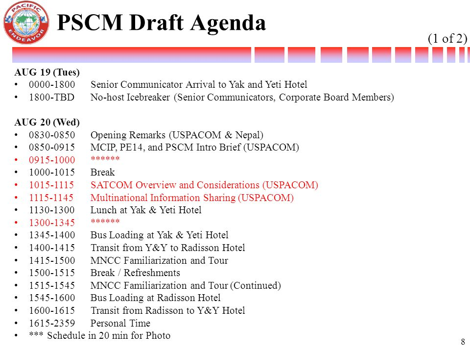 PSCM Draft Agenda (1 of 2) AUG 19 (Tues)