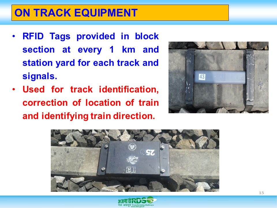 ON TRACK EQUIPMENT RFID Tags provided in block section at every 1 km and station yard for each track and signals.