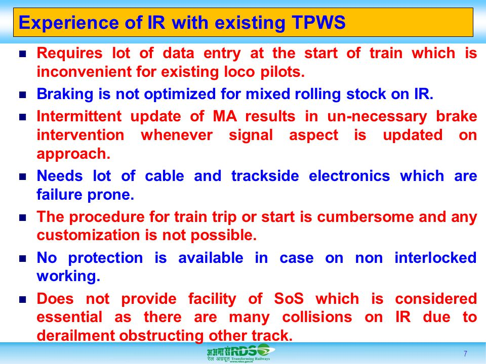 Experience of IR with existing TPWS