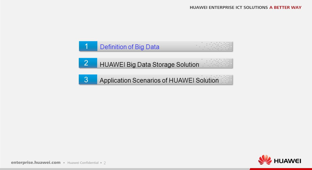 1 2 3 Definition of Big Data HUAWEI Big Data Storage Solution