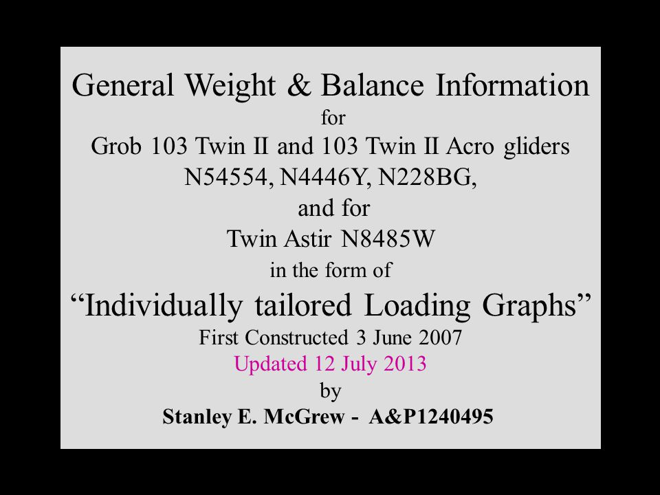 General Weight & Balance Information