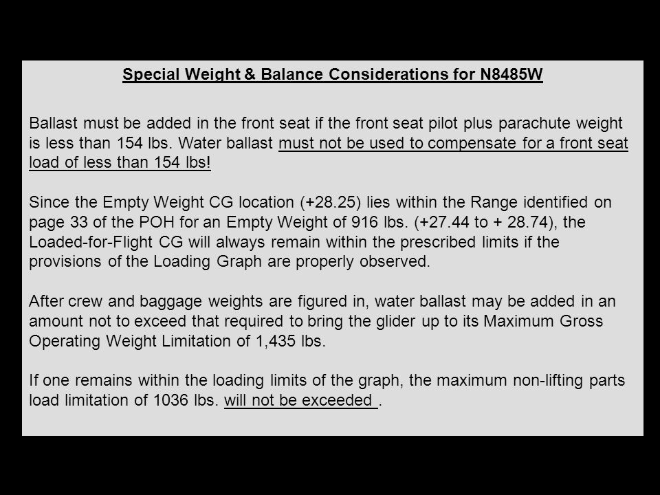 Special Weight & Balance Considerations for N8485W