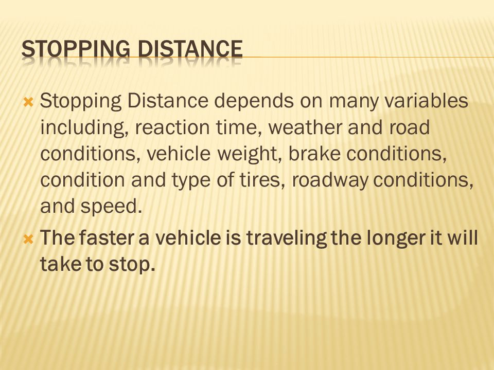 Stopping distance