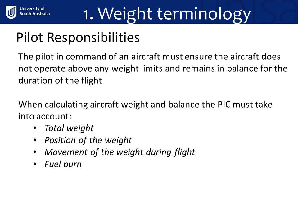 1. Weight terminology Pilot Responsibilities
