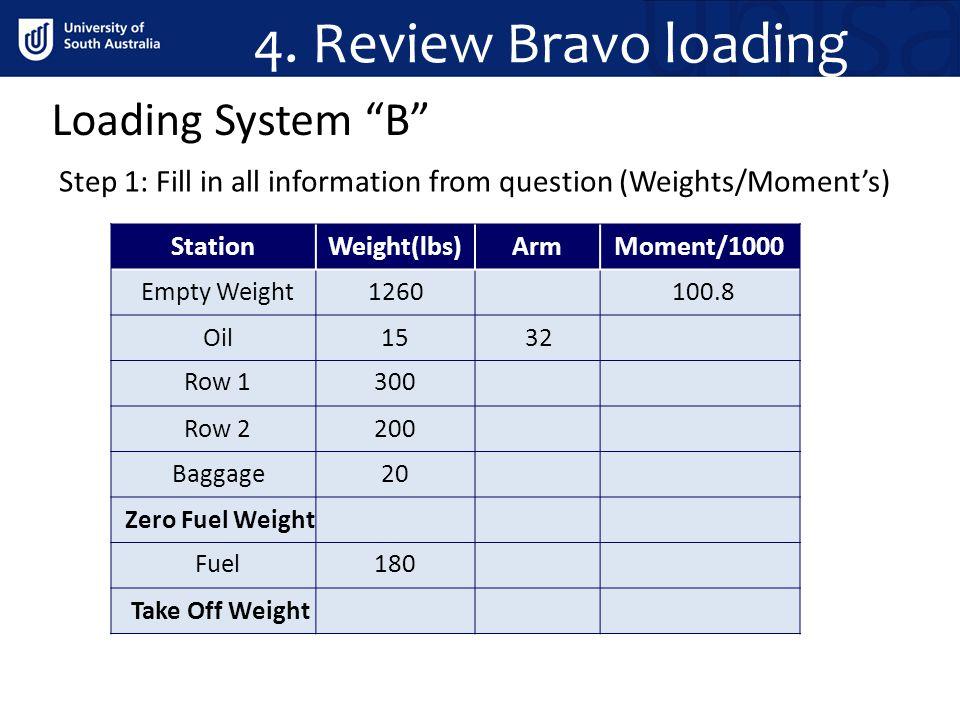 4. Review Bravo loading Loading System B