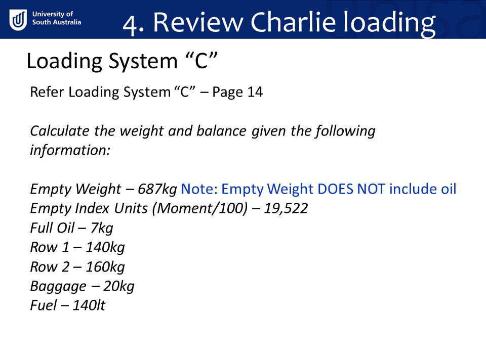 4. Review Charlie loading