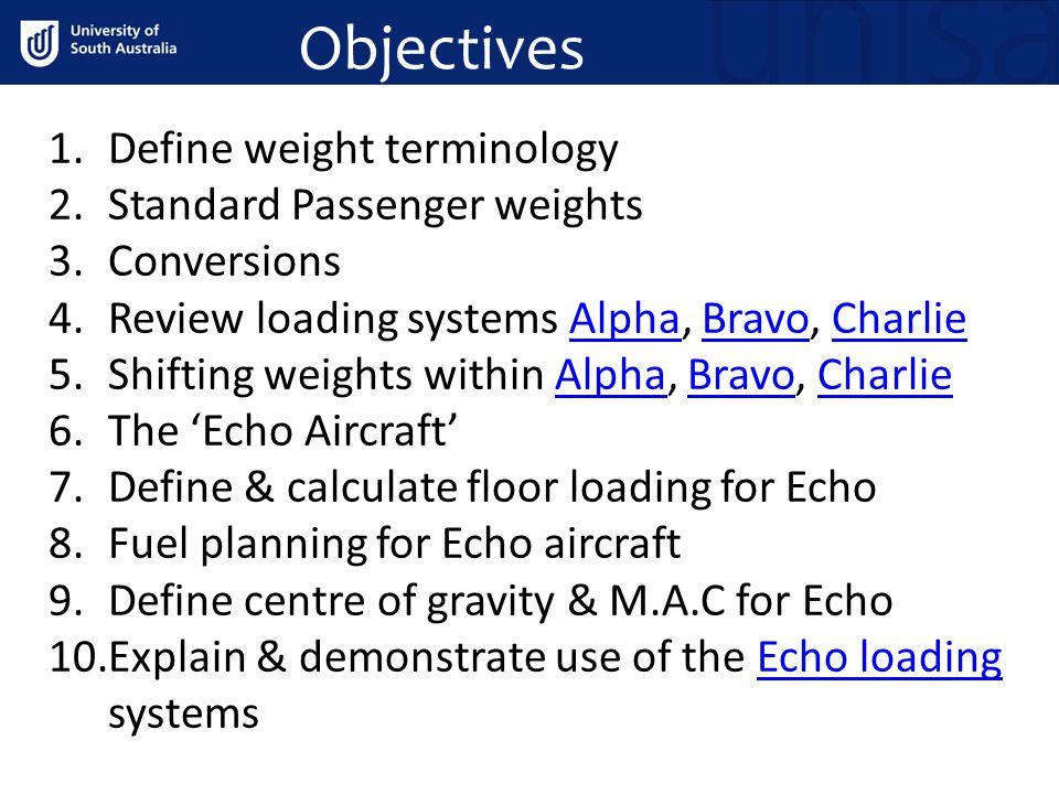 Objectives Define weight terminology Standard Passenger weights