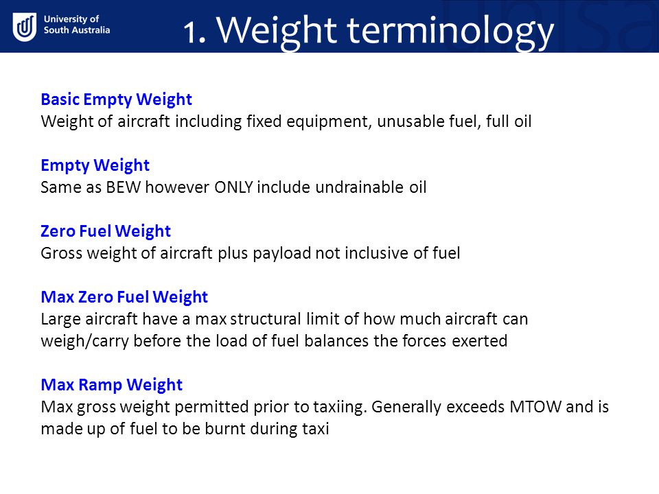 1. Weight terminology Basic Empty Weight