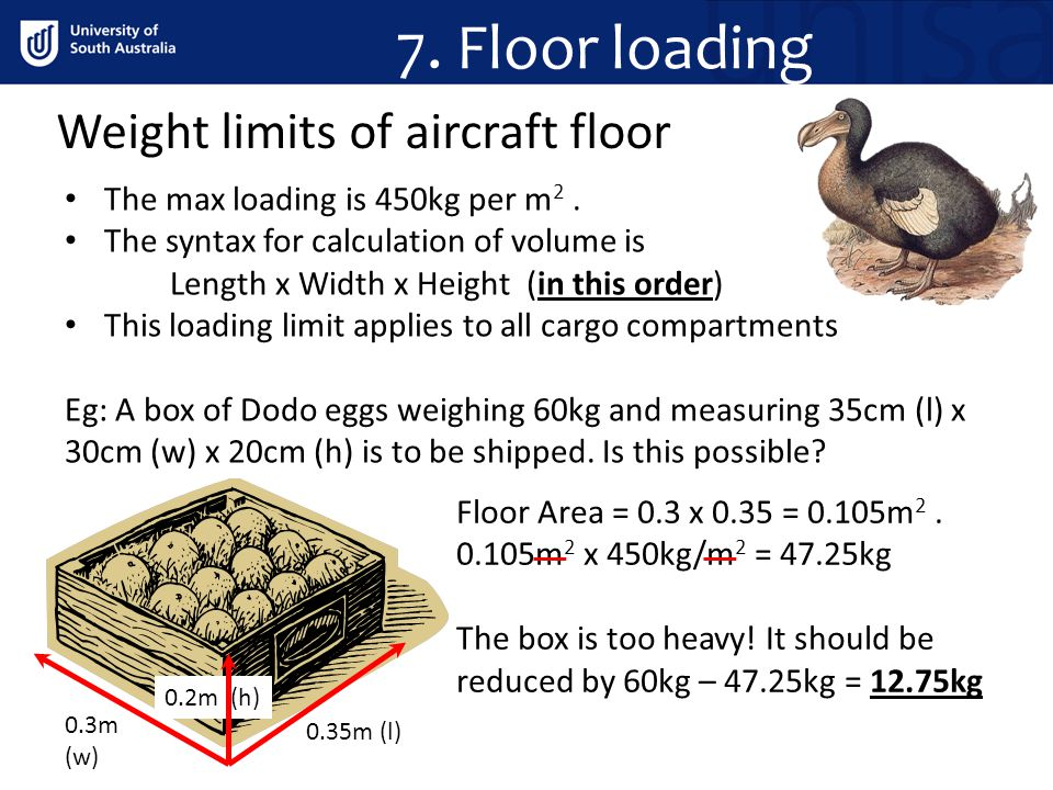 7. Floor loading Weight limits of aircraft floor