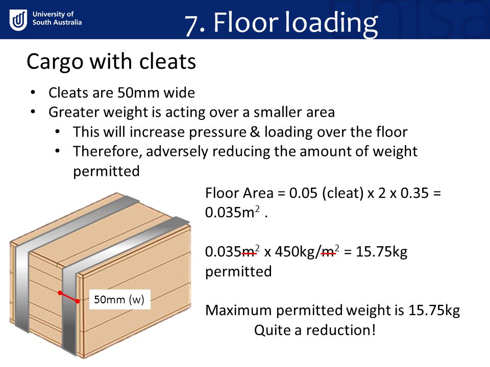 7. Floor loading Cargo with cleats Cleats are 50mm wide
