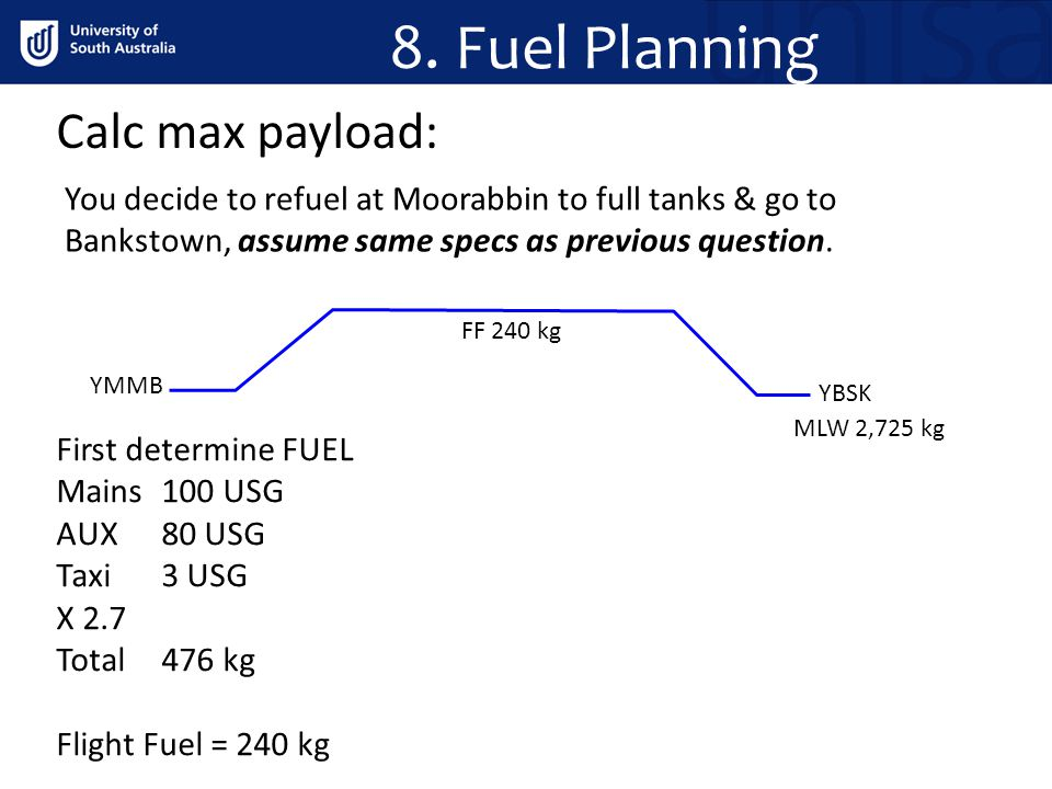 8. Fuel Planning Calc max payload: