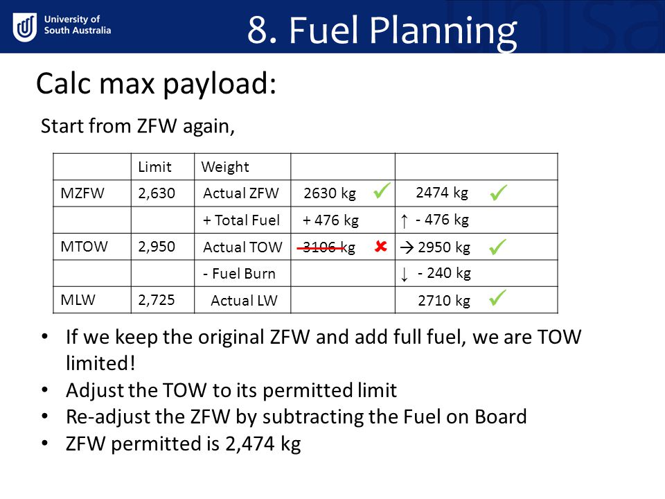 8. Fuel Planning Calc max payload:      Start from ZFW again,