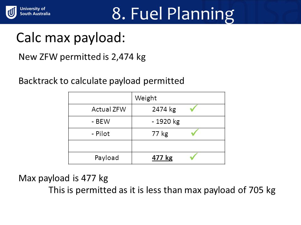 8. Fuel Planning Calc max payload:    New ZFW permitted is 2,474 kg