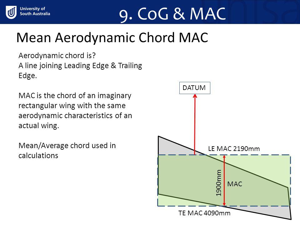 9. CoG & MAC Mean Aerodynamic Chord MAC Aerodynamic chord is
