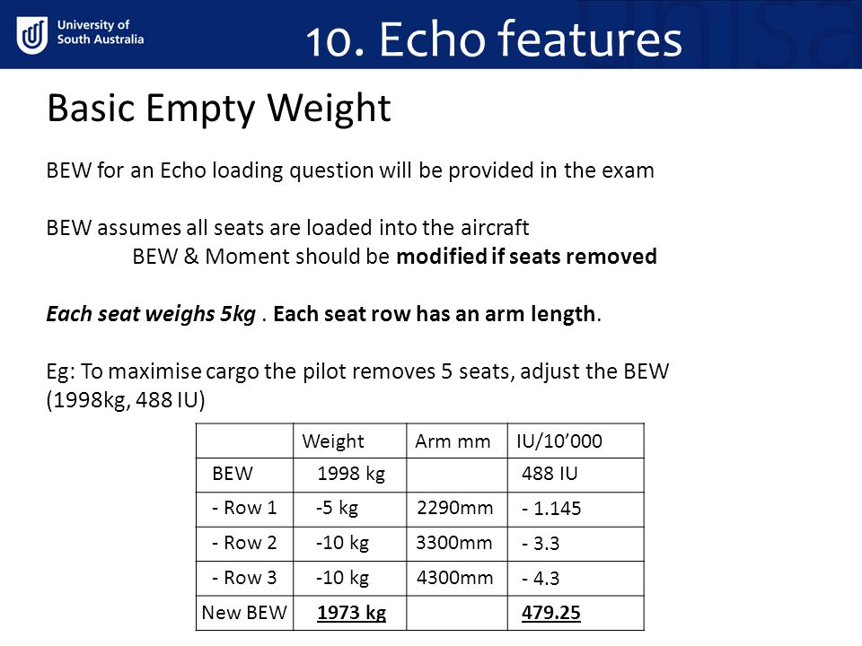 10. Echo features Basic Empty Weight