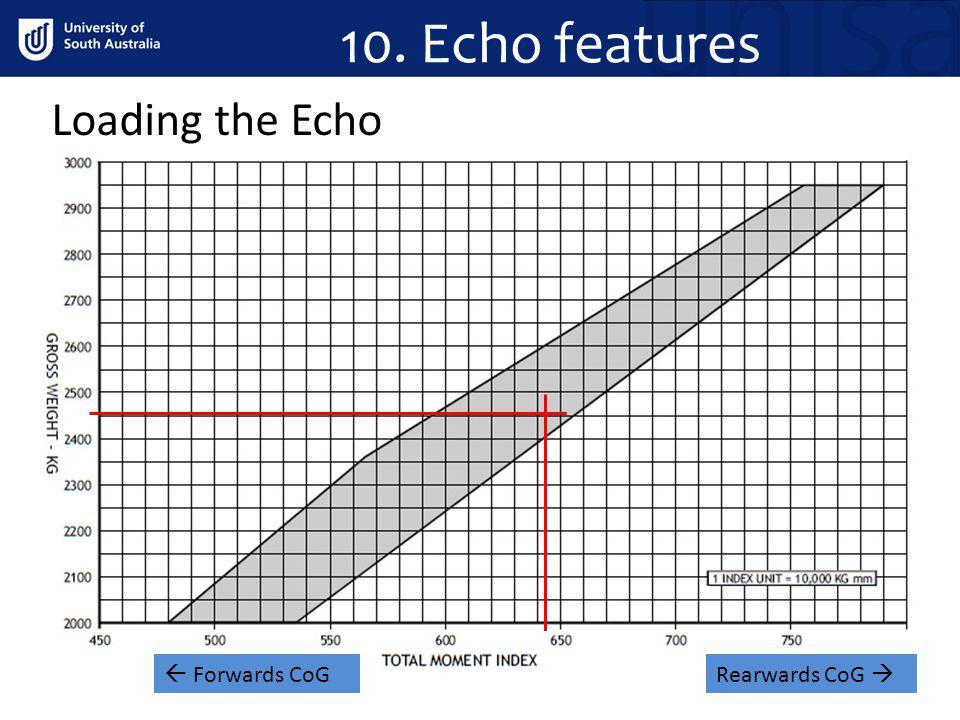 10. Echo features Loading the Echo .  Forwards CoG Rearwards CoG 