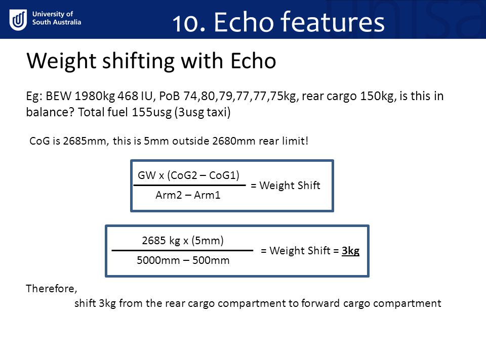 10. Echo features Weight shifting with Echo