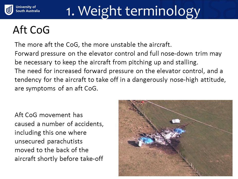 1. Weight terminology Aft CoG