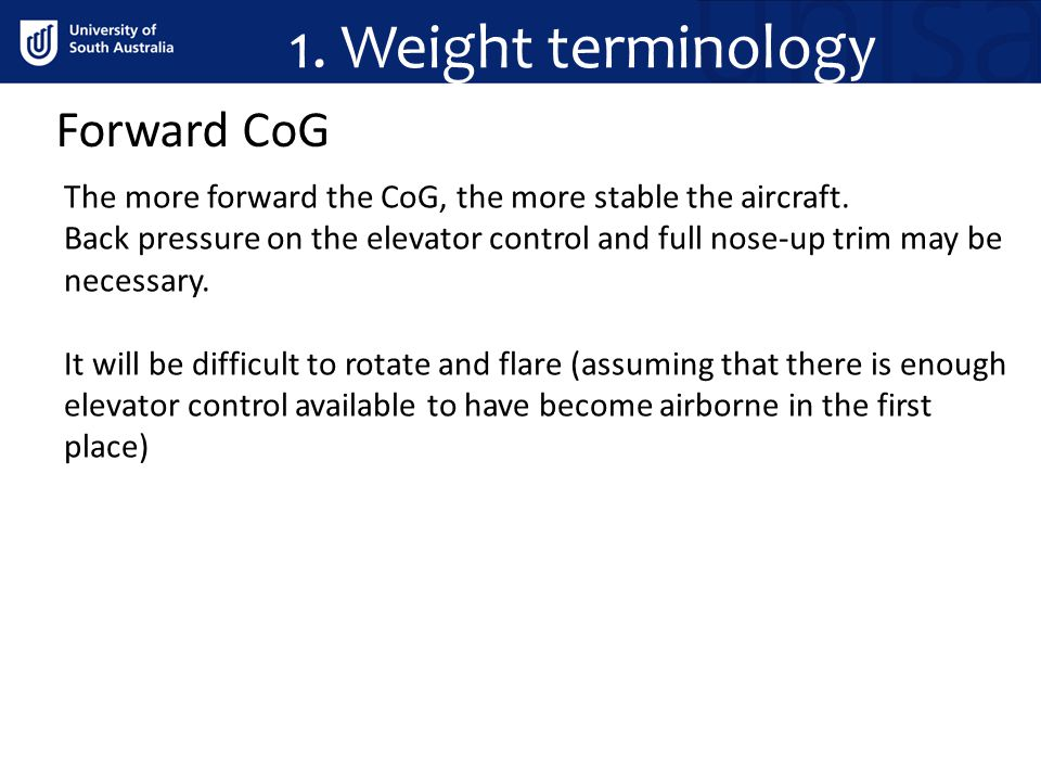 1. Weight terminology Forward CoG