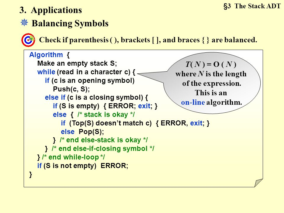  Balancing Symbols 3. Applications