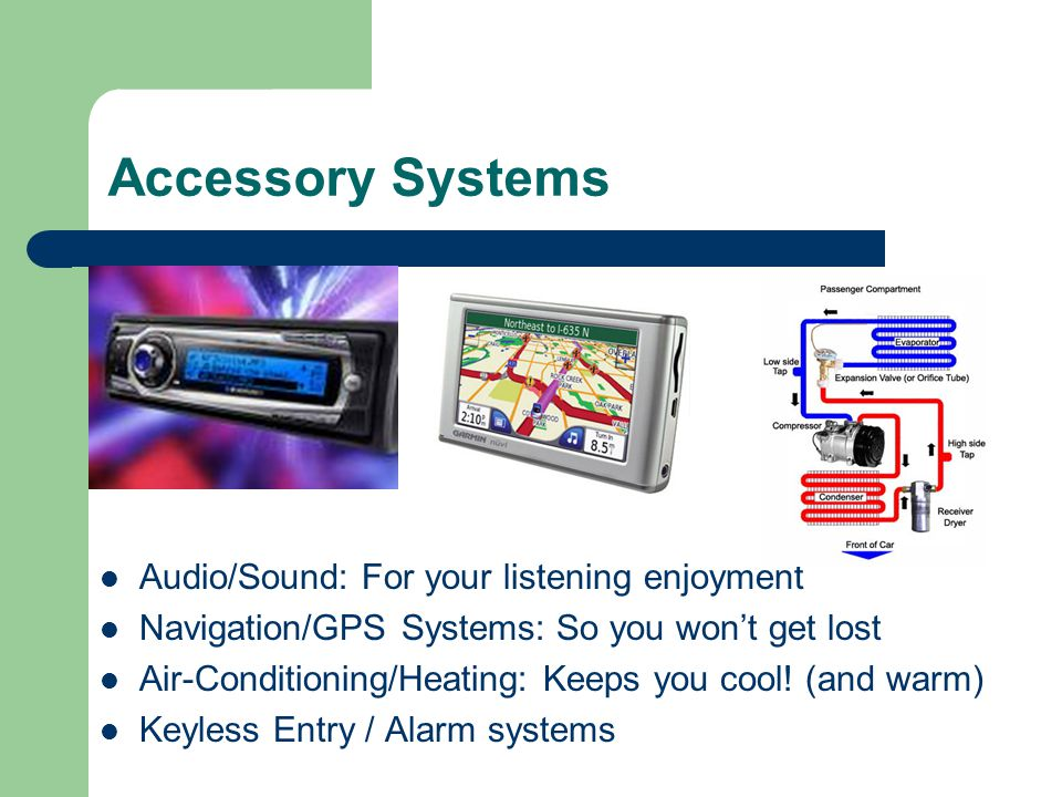 Accessory Systems Audio/Sound: For your listening enjoyment