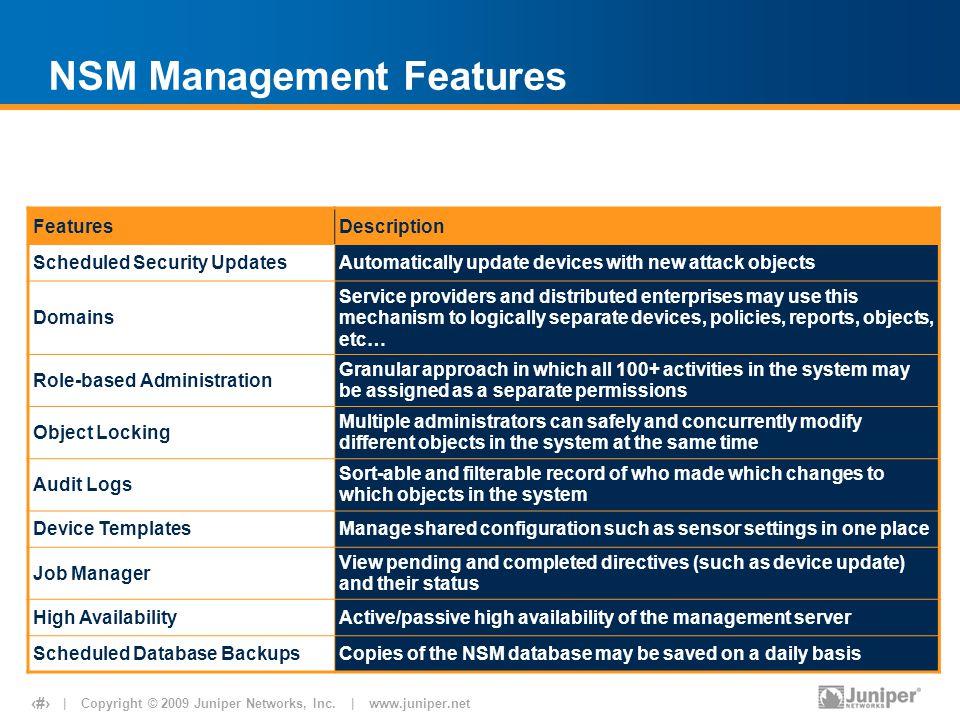 NSM Management Features
