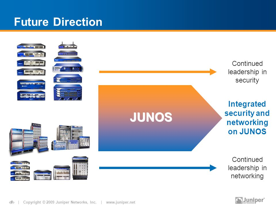 JUNOS Future Direction Integrated security and networking on JUNOS