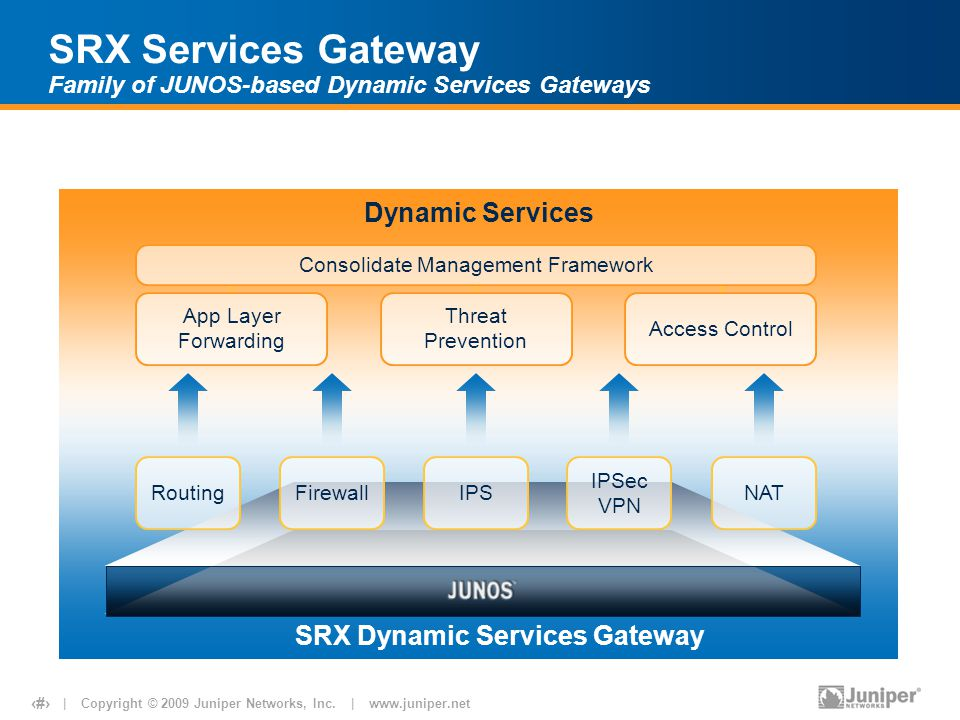 SRX Services Gateway Family of JUNOS-based Dynamic Services Gateways