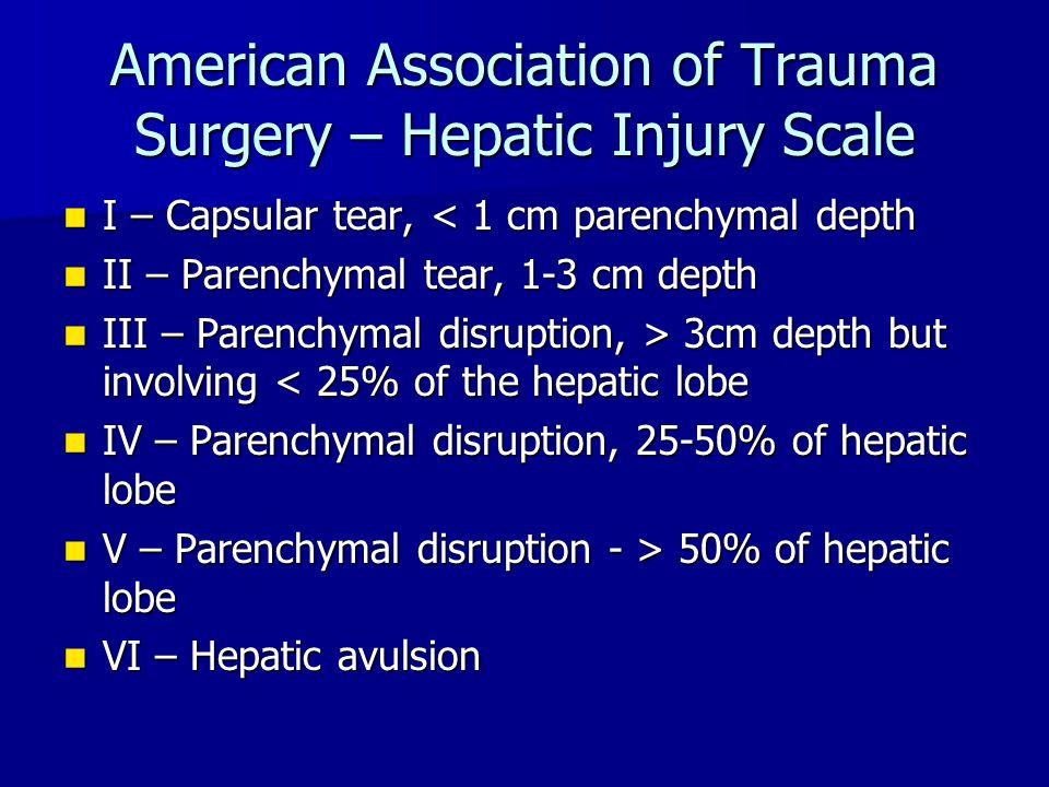 American Association of Trauma Surgery – Hepatic Injury Scale